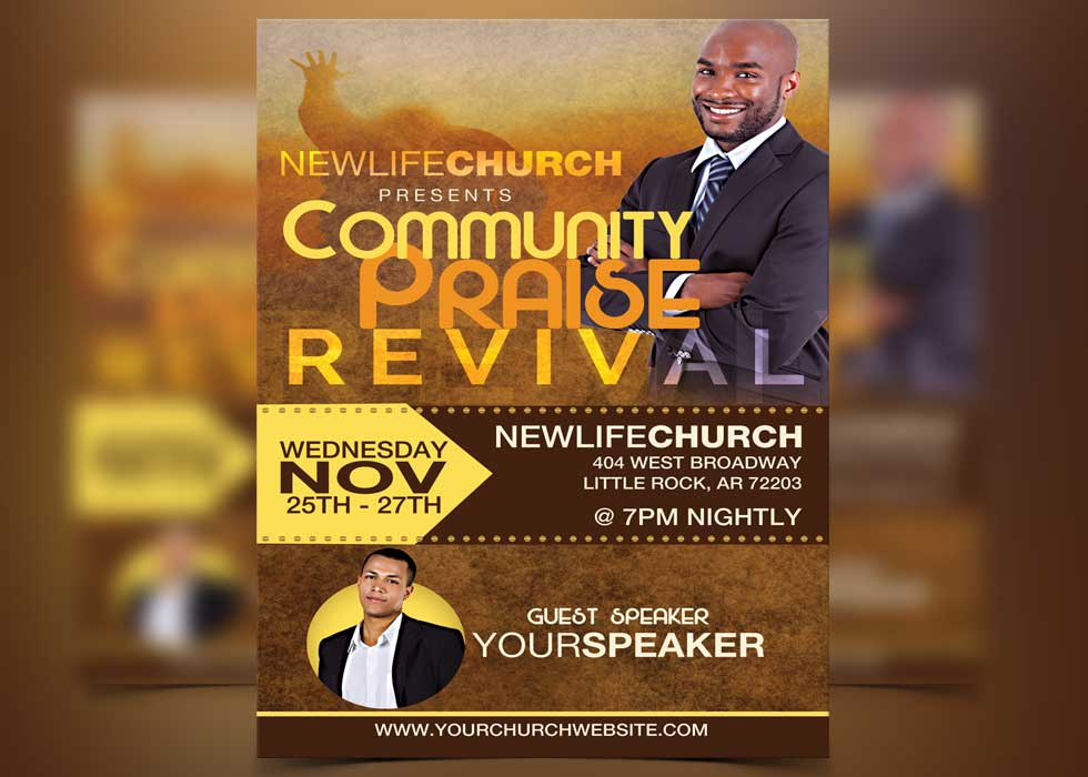 Revival flyer template for Free church revival flyer template