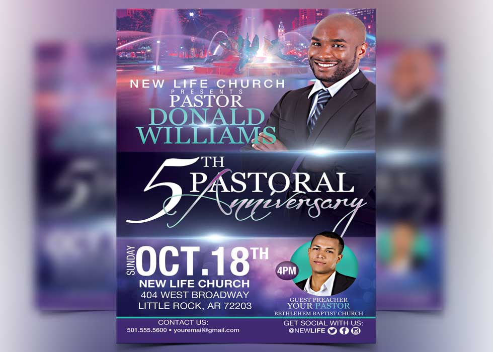 Lovely Pastor Anniversary Flyer Template