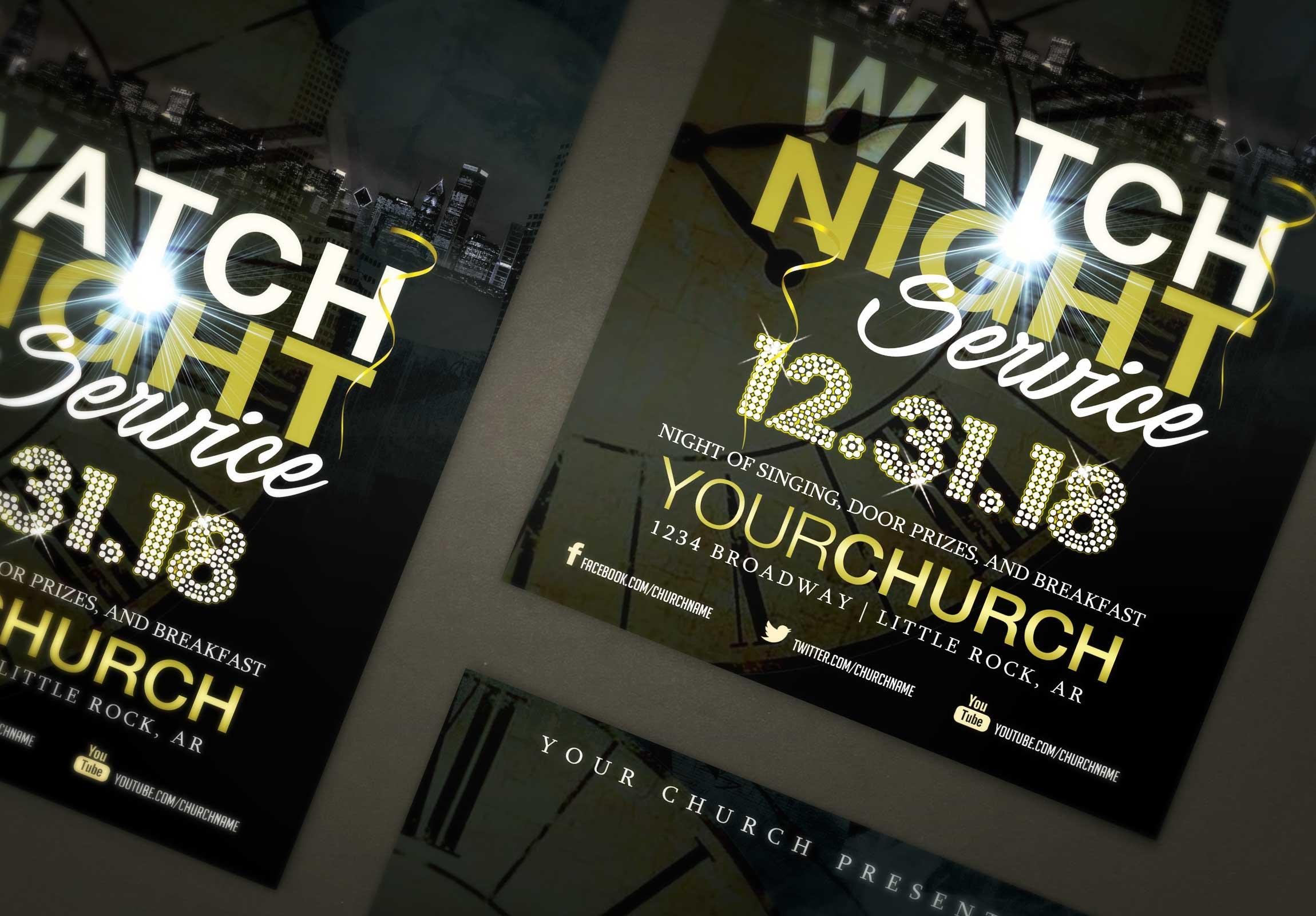 Watch night service flyer template