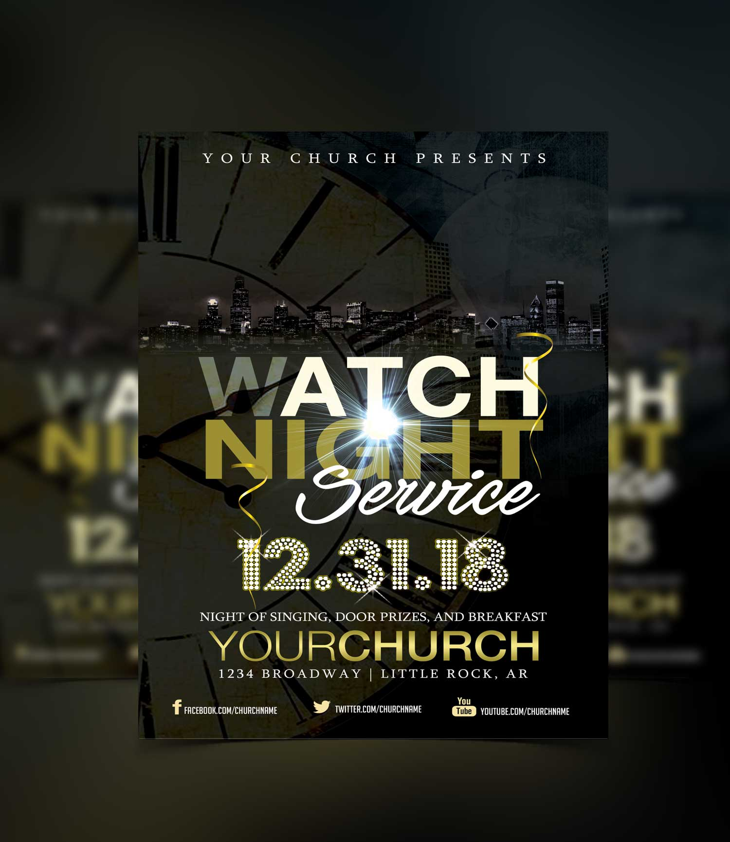 watch night service flyer template